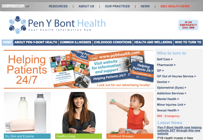 Bull Solutions delivers new 24/7 patient website for Pen-y-Bont Health